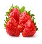 Ripe strawberry with leaf