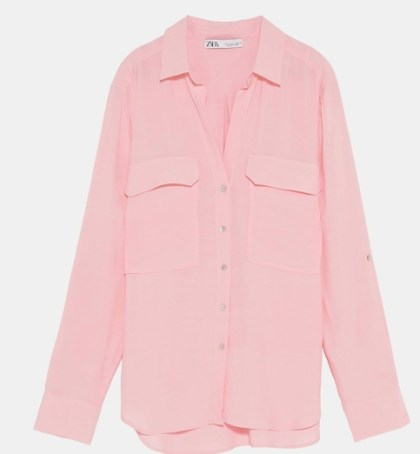 pink zara shirt with two pockets