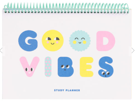 Kikki K: B5 SPIRAL STUDY PLANNER: SMILE. White cover with the words good vibes on the front.