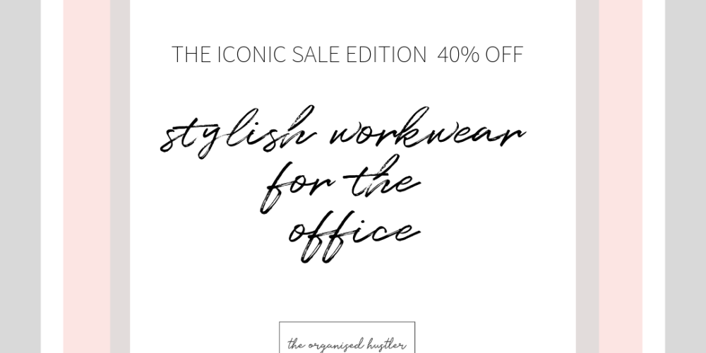 Stylish workwear for the office edition 2 wording on a pink grey and white background