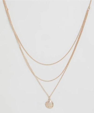 Gold chain necklace with a shell pendant