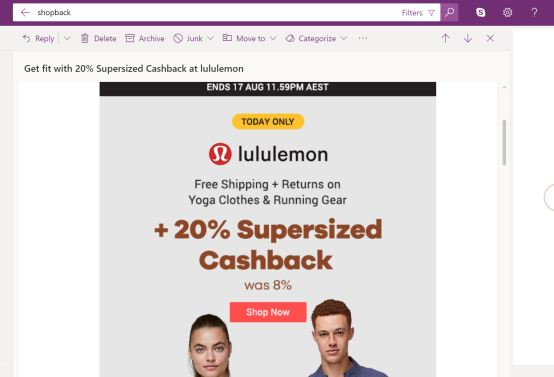 Shopback email with Lulumeon discount