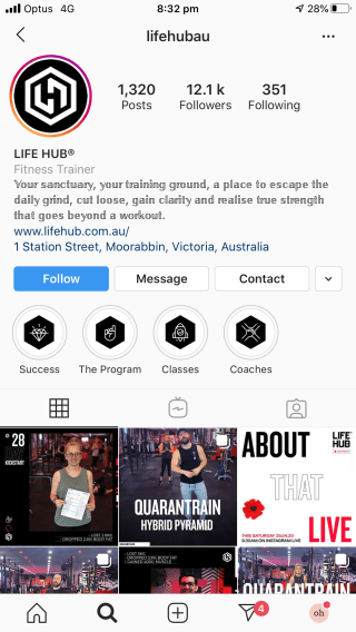 Life Hub Instagram workouts