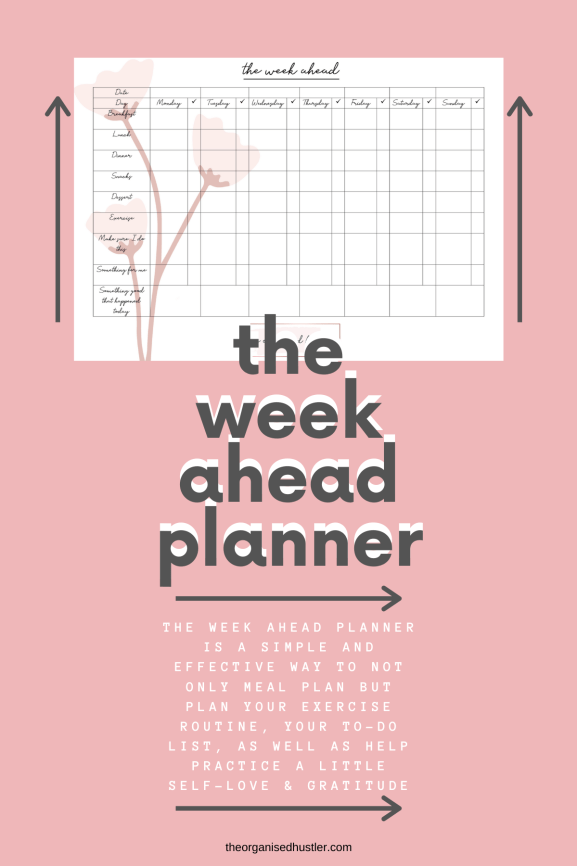 Weekahead planner by The Organised Hustler