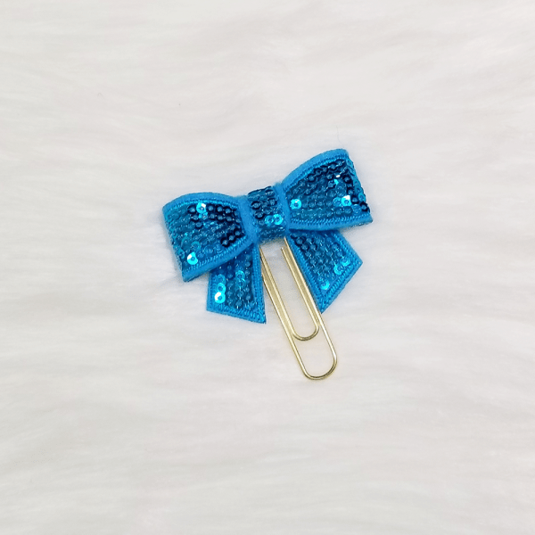 Light Blue Sequin Bow Clips