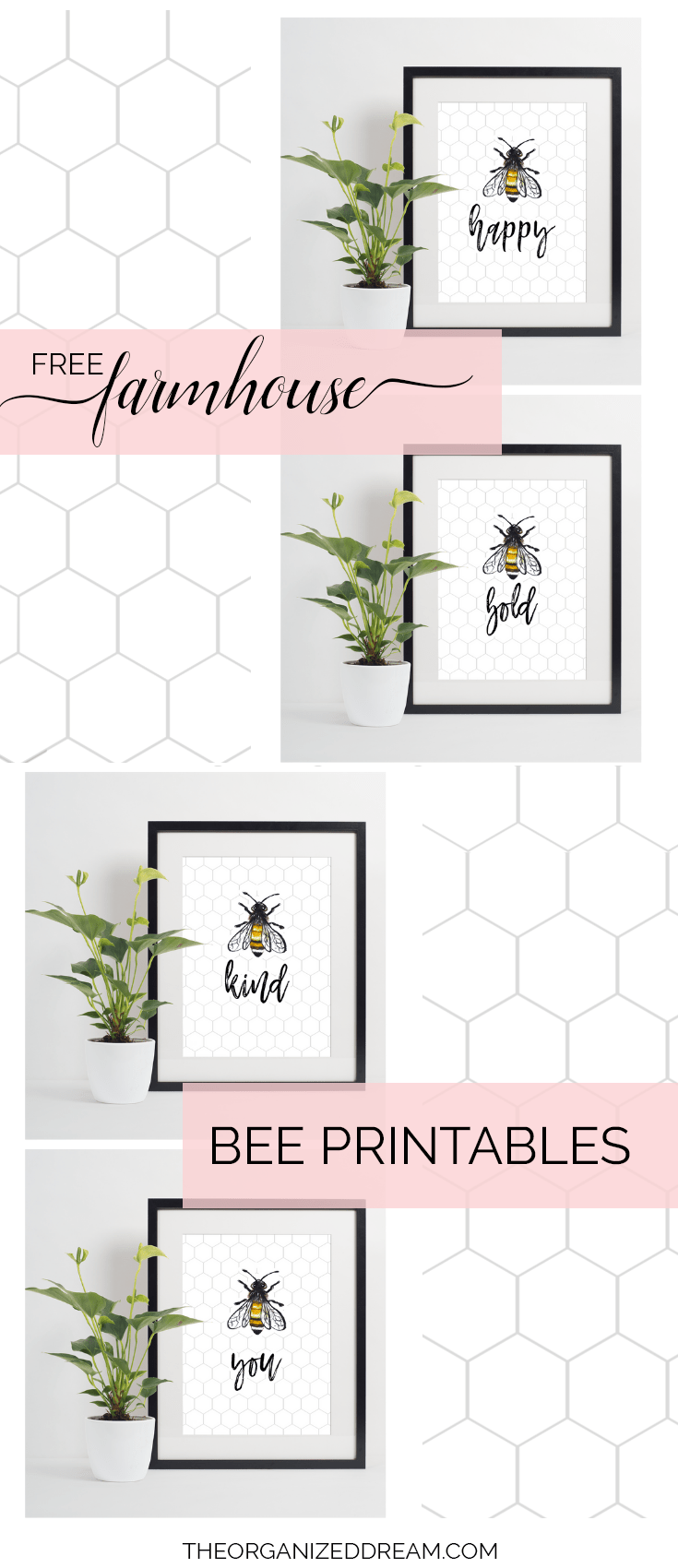 Choose from one of four free farmhouse-inspired bee printables to add to your summer decor! They're absolutely free! #printables #freeprintables #farmhouseprintables #summerprintables
