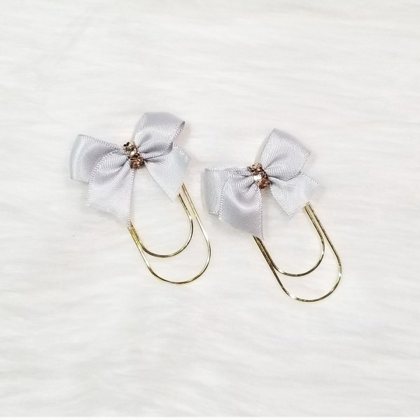 Light Grey Glam Bow Clip Set