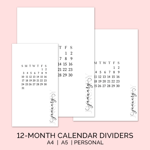 Minimalist Planner Dividers and Inserts