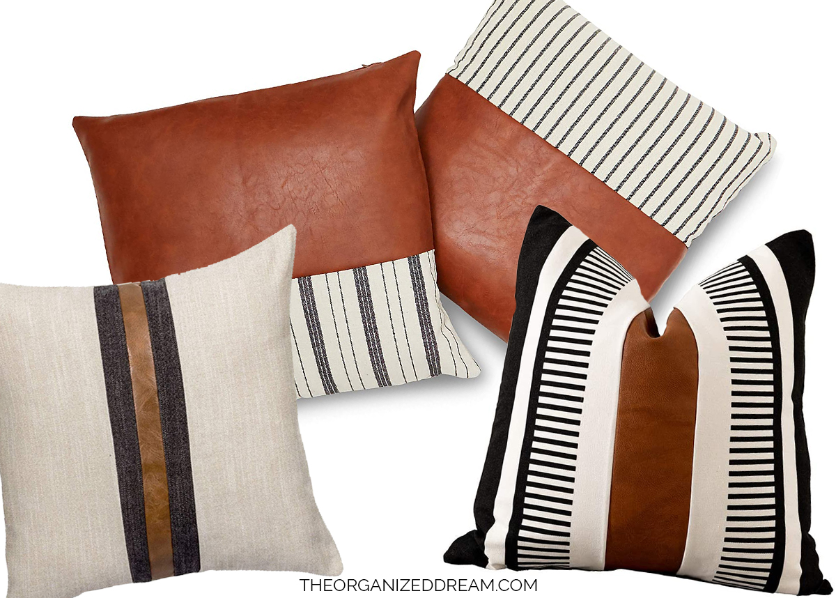 12 modern faux leather pillow covers