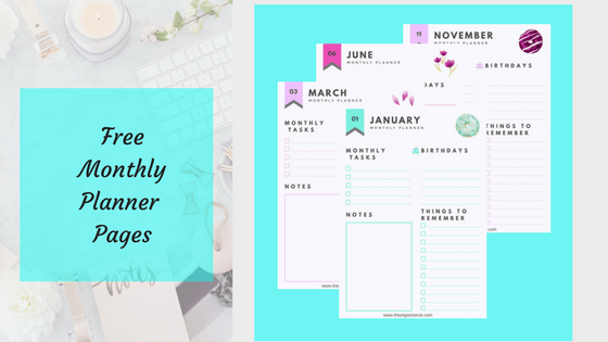 free monthly planner pages