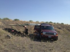 My Jeep Commander is named Red Leader and we tied ponchos up for shade, but they didn't last long because of the unending wind at Umatilla