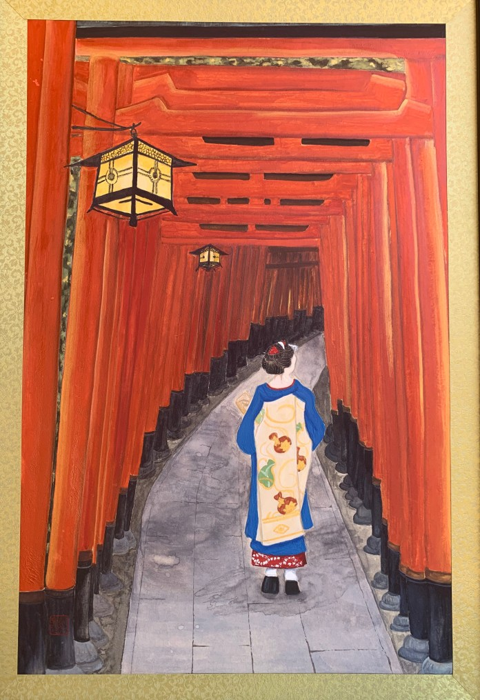 "Contributed PhotoDenise Nomura's A Walk at Fushimi, a 16.5"" x 23.5"" Nihonga on canvas paper"