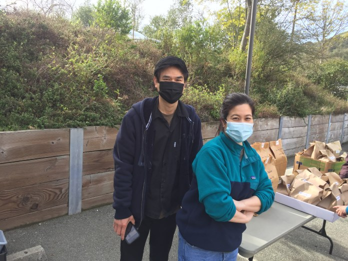 (Courtesy of Bill Waterman)BaanThai: Kim and Jim Pookkwangamon from Orinda's Baan Thai restaurant delivered prepared meals for hospital workers. Bann Thai was one of 22 Orinda restaurants who put together meals to thank frontline workers.