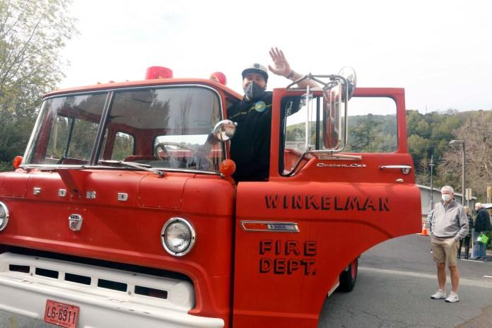 (Copyright Lori A. Cheung)Bo Galindo and Fire Truck