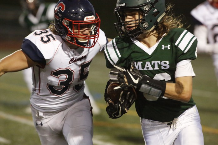 (Mark Bell, Photographer)You can't keep a good Mat down! The Miramonte Matadors played their last game of the revised football season on Friday, April 16 against Campolindo at the Mats sports field.