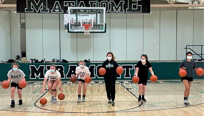 (Vince Wirthman, Photographer)Mats' hoopsters were overjoyed to practice inside in March (L-R): junior Kendal Maurer; seniors Nikki Lynch, Daniella Resch, Jordan Allred and P.K. Hall; and freshman Willa Mapaye.