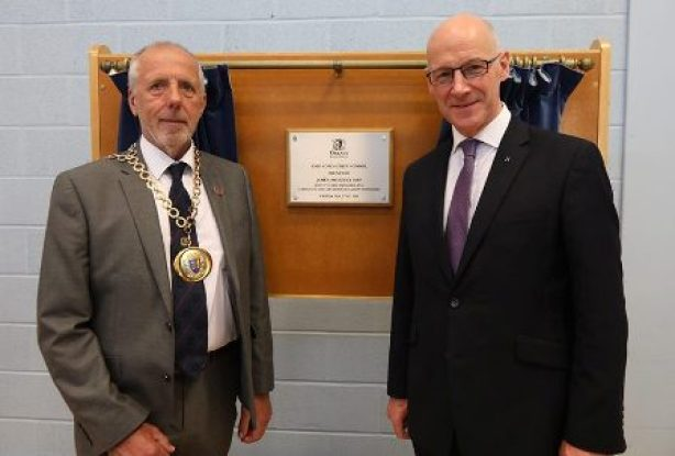 John Swinney and Harvey Johnston Evie School