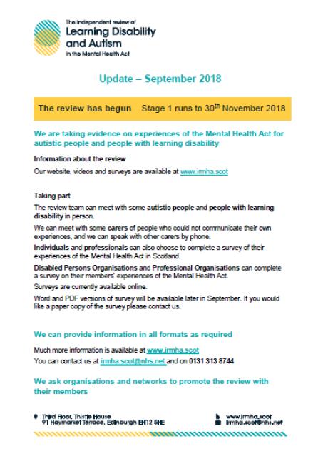 survey for Mental Health Scotland Act 1