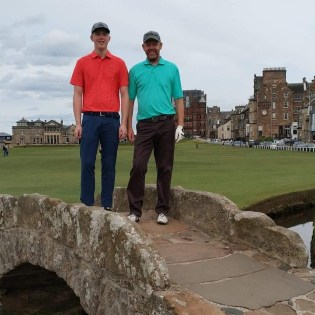 Iain & Ryan Wilkie on the Swilcan Bridge at St Andrews Scotland