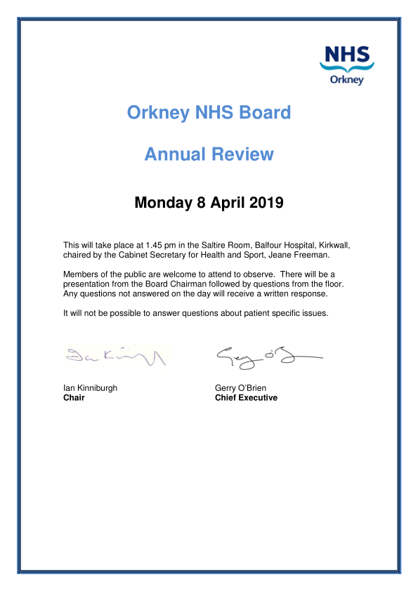 NHS Orkney Annual Review