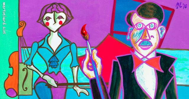 Stanley Cursiter & Phyllis Hourston. Animation still from A Gude Cause Maks A Strong Erm