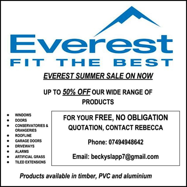 Everest Summer Sale on now. Up to 50% off a wide range of products. Windows, doors, conservatories, etc. FOR YOUR FREE, NO OBLIGATION QUOTATION, CONTACT REBECCA Phone: 07494948642 Email: beckyslapp7@gmail.com