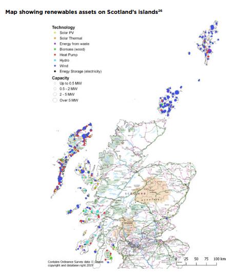 Renewables map in Scotland