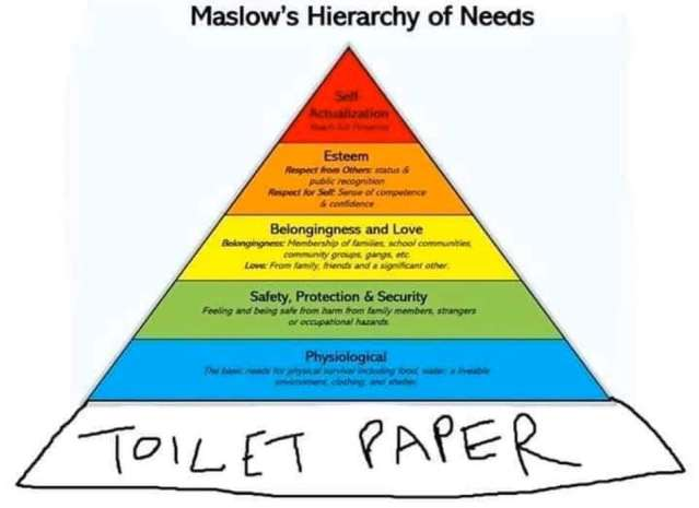 Maslow's Hierarchy of Needs plus toilet paper