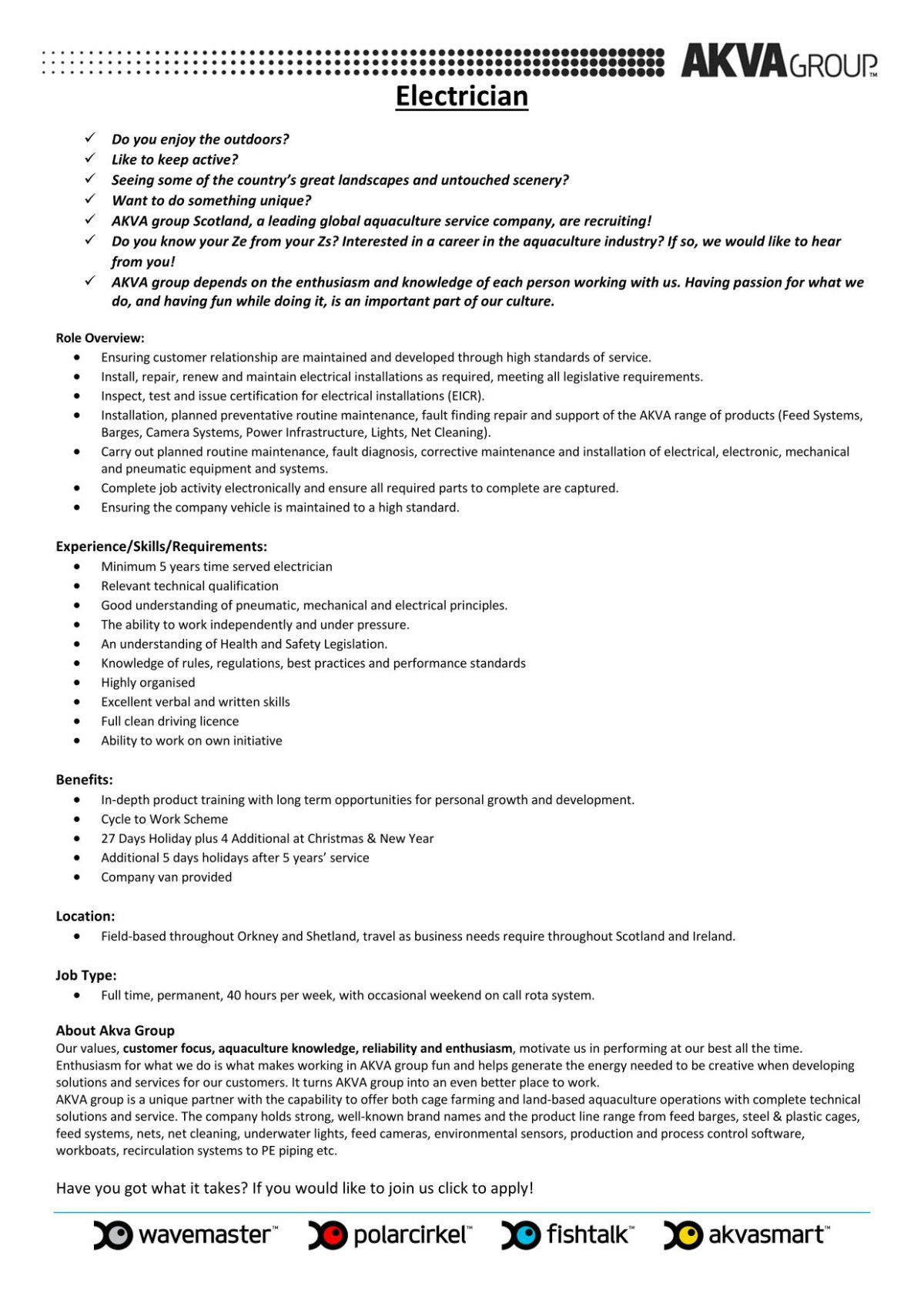 AKVA Group seeking Electrician. Summary of post.