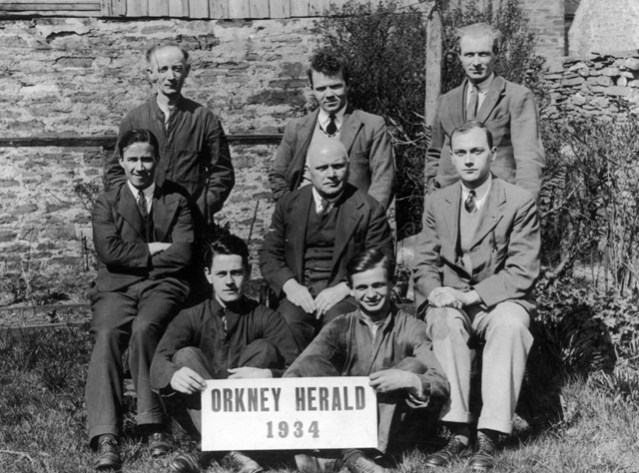 Orkney Herald staff 1934 - James Twatt centre, Jack Twatt centre right. (1)