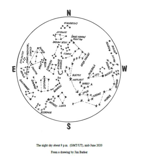 June 2020 star map Duncan Lunan