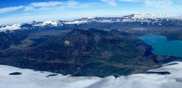 The Okmok caldera on the Aleutian island of Umnak (Credit: Desert Research Institute, Reno, Nevada USA)