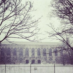 NU Evanston Library in the Snow