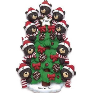 Bear Tree 9 Personalised Christmas Ornament
