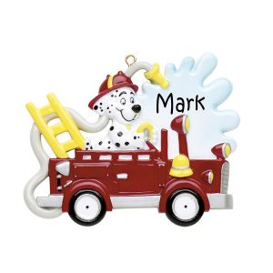 Dog In Firetruck Personalised Christmas Ornament