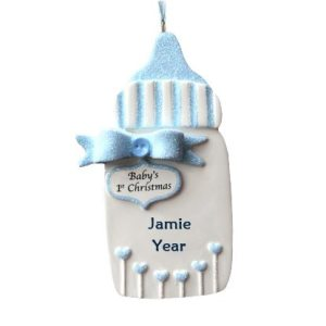 Baby's 1st Christmas Blue Glitter Bottle Personalised Christmas Ornament