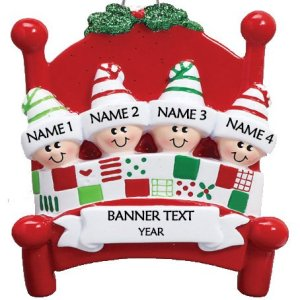Bed Heads Family 4 Personalised Christmas Ornament