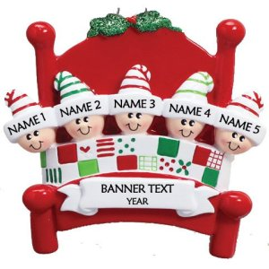 Bed Heads Family 5 personalised Christmas ornament