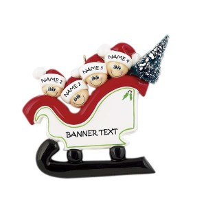Sleigh Family 4 Personalised Christmas Ornament