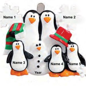 Penguins Making Snowman Family Christmas Ornament