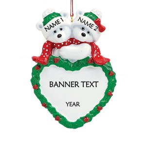 Polar Bear Couple With A Heart Wreath Personalised Christmas Ornament
