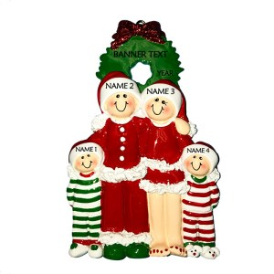 Christmas Eve Family 4 Personalised Christmas Ornament
