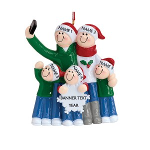 Selfie Family 5 Personalised Christmas Ornament