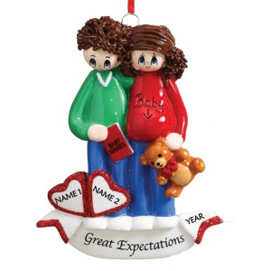 Pregnant Couple Personalised Christmas Ornament