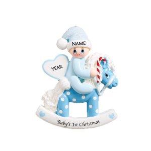 Rocking Pony Blue Personalised Christmas Ornament