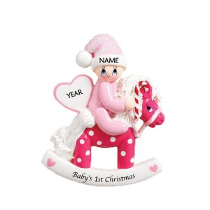 Rocking Pony Pink Personalised Christmas Ornament