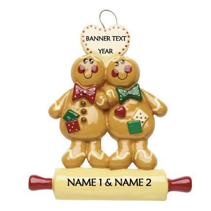 Gingerbread Couple Personalised Christmas Ornament 1