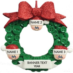 Button Wreath 3 Personalised Christmas Ornament