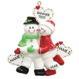 Snow Sweethearts Personalised Christmas Ornament