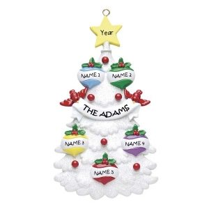 White Tree 5 Personalised Christmas Ornament 1